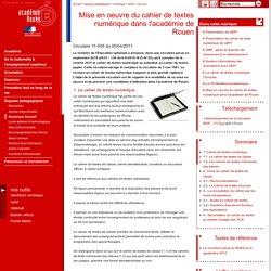 Mise en oeuvre du cahier de textes numérique dans l'académie de Rouen