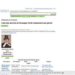 Liste des œuvres de Giuseppe Verdi (classement par genre)