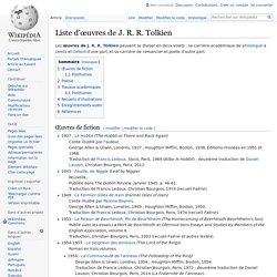Liste d'œuvres de J. R. R. Tolkien