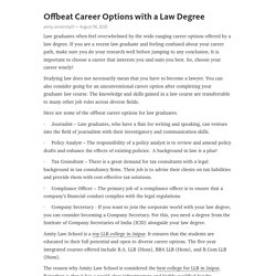 Offbeat Career Options with a Law Degree