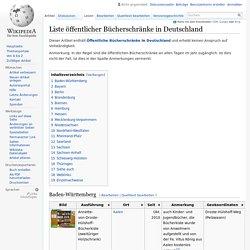 Liste öffentlicher Bücherschränke in Deutschland