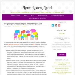 Do you offer feedback or feed forward? #ASCD15