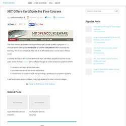 MIT Offers Certificate for Free Courses