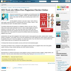 SEO Tools site Offers Free Plagiarism Checker Online by Grep S.