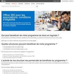 Office 365 pour les organismes à but non lucratif