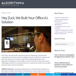 Hey Zuck, We Built Your Office A.I. Solution - Algorithmia