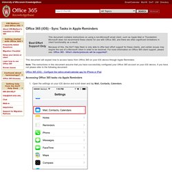 Office 365 (iOS) - Sync Tasks in Apple Reminders