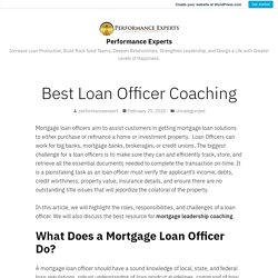 Best Loan Officer Coaching – Performance Experts