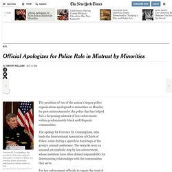Official Apologizes for Police Role in Mistrust by Minorities