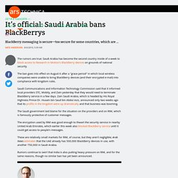 It's official: Saudi Arabia bans BlackBerrys