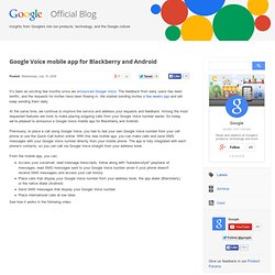 Google Voice mobile app for Blackberry and