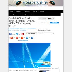 Swedish Official Admits Toxic 'Chemtrails' Are Real, NOT a Wild Conspiracy Theory
