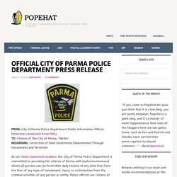 OFFICIAL CITY OF PARMA POLICE DEPARTMENT PRESS RELEASE