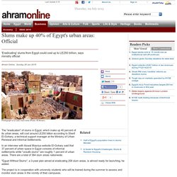 Slums make up 40% of Egypt's urban areas: Official