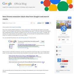 New Chrome extension: block sites from Google's web search results