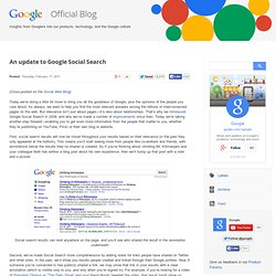 An update to Google Social Search