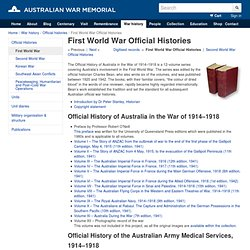 Australian War Memorial - First World War Official Histories