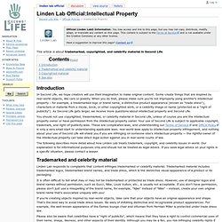 Linden Lab Official:Intellectual Property
