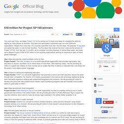 google $10 million for Project 10^100 winners