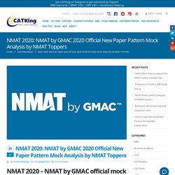 NMAT by GMAC 2020 Official New Paper Pattern Mock Analysis
