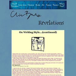 The Official Clive Barker Resource - Revelations - Writing Style