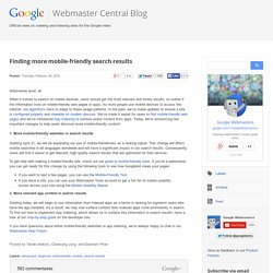Finding more mobile-friendly search results