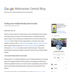 Official Google Webmaster Central Blog: Finding more mobile-friendly search results