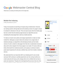 Official Google Webmaster Central Blog: Mobile-first Indexing