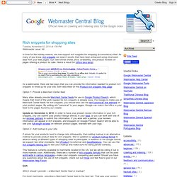 Rich snippets for shopping sites