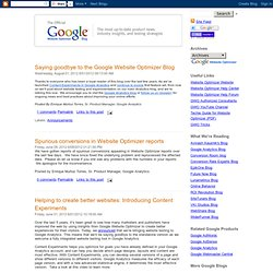 Official Google Website Optimizer Blog
