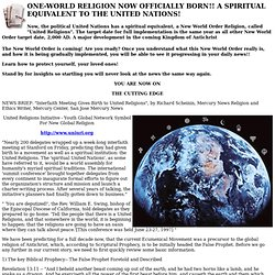 ONE-WORLD RELIGION NOW OFFICIALLY BORN!! A SPIRITUAL EQUIVALENT TO THE UNITED NATIONS! - Christian Updates - New World Order.
