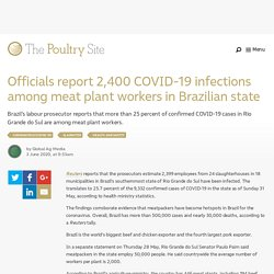 PIGSITE 03/06/20 Officials report 2,400 COVID-19 infections among meat plant workers in Brazilian state