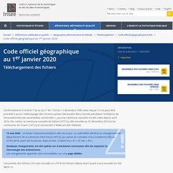 Code officiel géographique au1erjanvier 2020