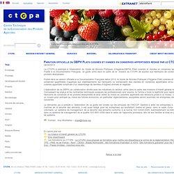 CTCPA 26/04/13 Parution officielle du GBPH Plats cuisinés et viandes en conserves appertisées rédigé par le CTCPA