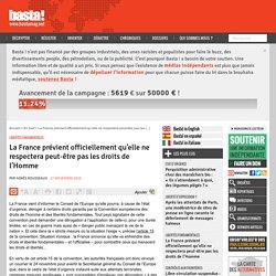La France prévient officiellement qu'elle ne respectera peut-être pas les droits de l'Homme