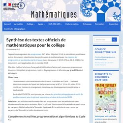 Synthèse des textes officiels de mathématiques pour le collège - Mathématiques - Académie de Bordeaux