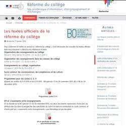 Les textes officiels de la réforme du collège