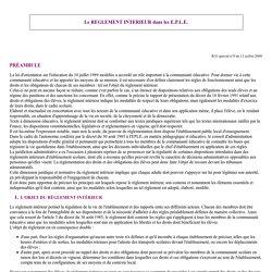 - EPS - Textes officiels - Réglement intérieur dans les EPLE-