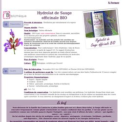 Fiche technique Hydrolat (eau florale) de Sauge officinale BIO - Salvia officinalis