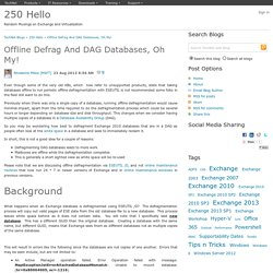 Offline Defrag And DAG Databases, Oh My! - 250 Hello