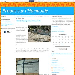 Offrande et partage gratuit de livres en ville - Propos sur l'Harmonie