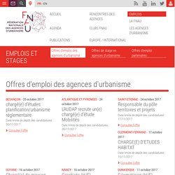 Offres d'emploi des agences d'urbanisme - Fnau