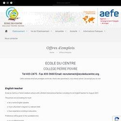 Offres d'emplois - École du Centre - Collège Pierre Poivre