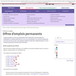 Offres d'emplois permanents