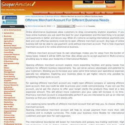 Offshore Merchant Account For Different Business Needs