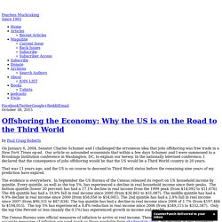 Offshoring the Economy: Why the US is on the Road to the Third World