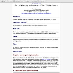 Ogasaware - Global Warming: A Cause and Effect Writing Lesson: