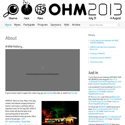 OHM2013: Observe. Hack. Make. July 31 – August 4, 2013