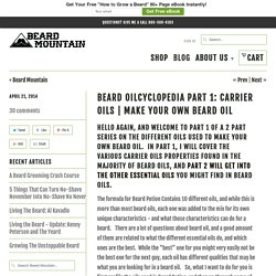 Beard Oilcyclopedia Part 1: Carrier Oils