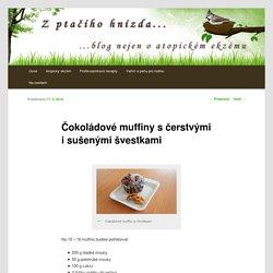 Čokoládové muffiny s čerstvými i sušenými švestkami